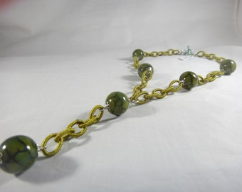 Necklace, chain of green fabric, green agate and 925 silver