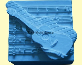 Guitar Flexible Silicone Mold Silicone Mould Soap Mold Polymer Clay Mold Resin Mold wm116