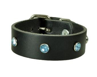 """Leather bracelet """"rhinestone"""""""