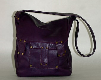 Purple leather bag, model Lolita