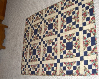 Clearance! Handmade Navy/Multi Patchwork Quilt