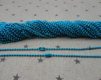 100pcs blue Ball Chain Necklaces with connectors.. 27.5 inch Chain 2.0 mm wholesale--MN77