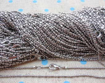 20pcs 17 inches silver gray color Metal Ball and Bar Necklace Chain 1.5MM--MN39