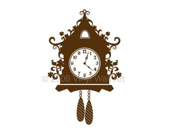 Cuckoo Clock Vinyl Decal size LARGE, Clock, Home Decor, Office Decal,
