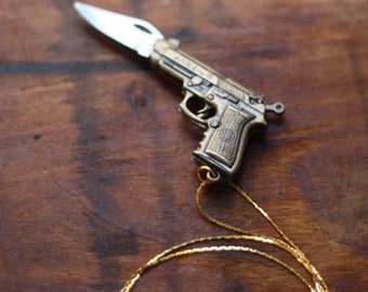 Gun Pocket Knife Necklace: Novelty Brass Pistol Revolver