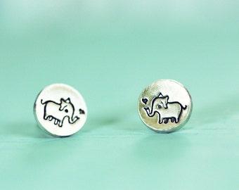 Elephant Earrings ELEPHANT STUDS - cute animal earrings - sterling silver elephant stud earrings - elephant jewelry silver elephant earrings