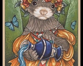 Grecian Ferret Water Bearer Signed Art Print - You Choose - 2.5x3.5, 5x7 or 8x10 Inch, Ferret Art Print, Brown Sable Mask Chocolate Spring