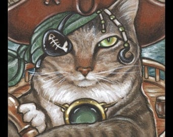 Cat Print Pirate Art Animal Illustration Print Cat Lover Gift Wall Decor Kids Room Print Pirate Party For Cat Person Nursery Decor Cat Decor