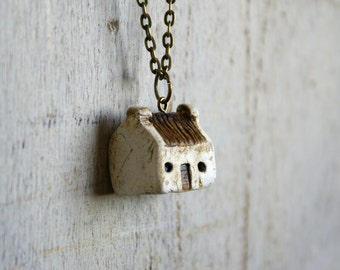 Miniature Irish Cottage Pendant Hand Painted Paper Clay -- Handmade in Ireland