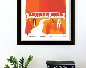 Screenprint Poster - Andrew Bird Show Poster Asheville Silkscreen Rock Gig Print