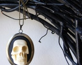 3 D Skull Necklace - Halloween jewelry, cameo jewelry, skull cameo pendant, ivory and black, unisex, autumn, fall - BlackStar