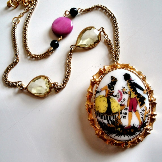 SALE Cameo Couple Silhouette Necklace - Colorful Pendant in Gold Frame with Glossy Magenta Tagua and Yellow Glass Teardrops - Free Shipping