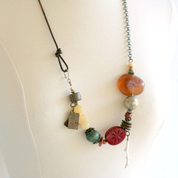 Statement Necklace, Beaded Tribal Necklace, Hand stamped Jewelry, Baltic Amber, Be Here Now
