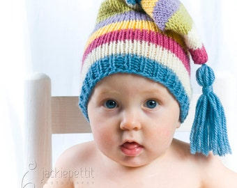 Knit Baby Hat Pattern Tutorial - Stocking Cap Pixie Elf Christmas Hat - Instant Download