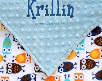 Personalized Baby Boy Blanket , Owl Blanket for Boys, Owl Minky and Minky Dot Blanket