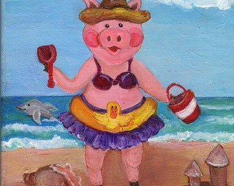 acrylic painting canvas art, Pig Girl at  Beach Painting  8 x 10 original acrylic on canvas, small pig art, pig in swim suit