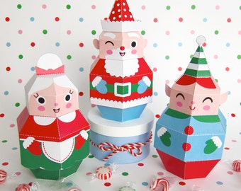 Santa, Mrs. Claus and Elf Treat Boxes Prinatble Paper Christmas Crafts