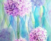 Alliums Original Watercolour Flower Painting Small Format Art SFA