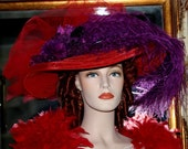 "Downton Abbey Hat Edwardian Hat Titanic Hat ""Miss Red Crystal Fairy X"" Red Tea Hat"