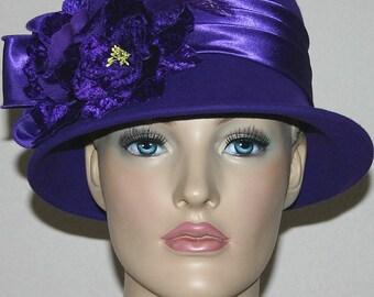 Flapper Hat Purple Hat Cloche Hat  Gatsby Hat Roaring Twenties Downton Abbey Hat - Madame Plum