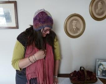 Handspun hat, freeform crazy crochet, 1920s cloche style, woman