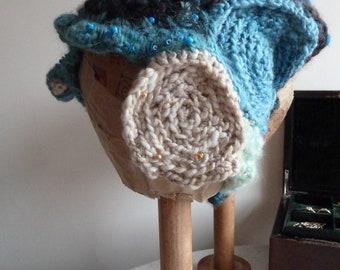 Handspun hat, handmade in freeform crochet, adult size