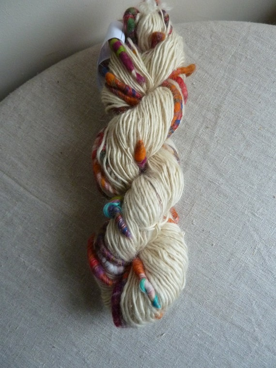 Handspun art yarn, pure Wensleydale with colourful cocoons, 8.5oz, 188 yards