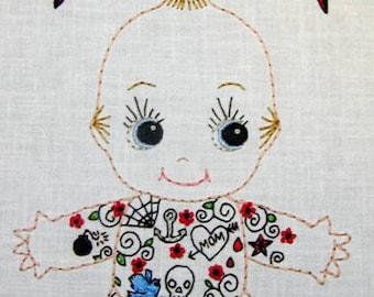 Tattoo Kewpie Doll Cutesie Digital Embroidery Patterns