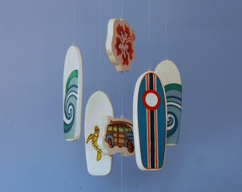 Surfboard Baby Mobile - White Mobile - Woody Surf Boards and Car - Surf or Beach Baby Nursery