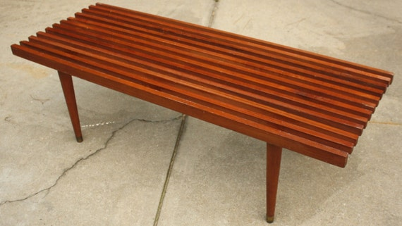 Mid Century Danish Modern Slatted Wood Coffee Table
