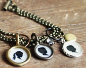 Custom Silhouette Locket . Teeny Charm . Two Profiles