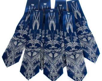 Custom wedding ties. 7 silk groomsmen neckties, wedding group discount, matching design.