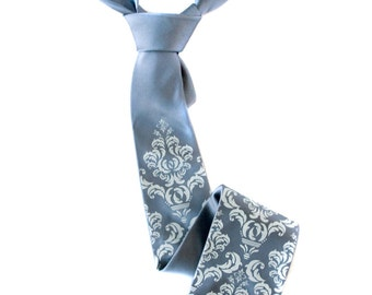 Damask necktie. Steel blue silk tie, ice blue print. Silkscreened men's wedding tie. 100% silk, choose standard or narrow cut size.