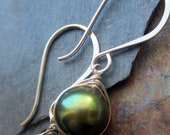 Enchanted Earrings - Emerald Green Pearl Wire Wrapped Earrings