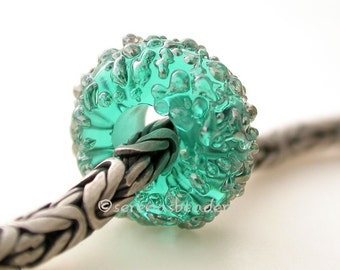 TEAL LUSTER Sugar European Charm Lampwork Glass Bead - Handmade - color options: grey blue pink