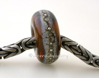 Maple GRANITE SILVER European Charm Handmade Lampwork Glass Beads - taneres sra brown topaz
