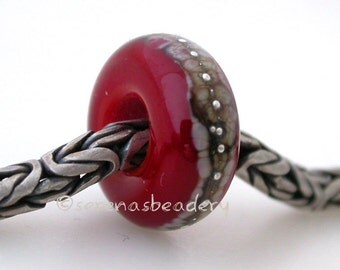 European Charm RED GRANITE SILVER Handmade Lampwork Glass Beads - taneres
