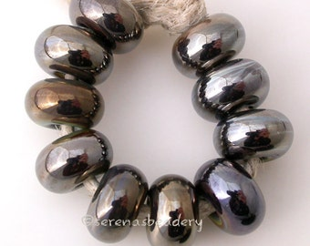 IRIS BROWN Chrome LUSTER Handmade Lampwork Spacer Donut Rondelle Beads sra by taneres