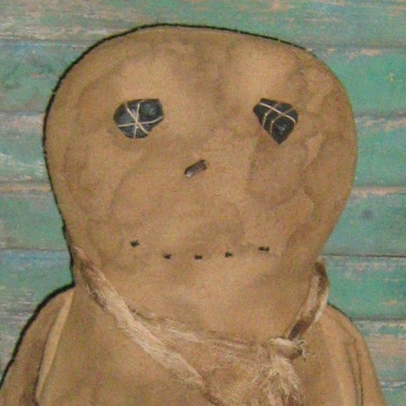 Primitive Snowman Doll Shelf Sitter - Christmas Grungy Grubby Rustic
