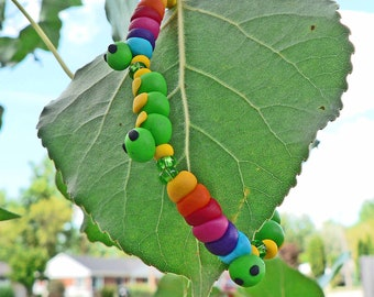 Rainbow Caterpillar & Green Inchworm Polymer Clay Beaded Bracelet Hypoallergenic Jewelry Garden Bugs Insect Party Favor Gift