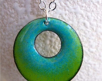Reversible Ombre Enamel Pendant Necklace, Lime Green, Robins Egg Blue Glass Enamel, 16 or 18 Inch Sterling Silver Chain