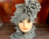 Lauren Gray Hat and Scarf, Crochet Scarf, Crochet Beanie, Flower Beanie Hat, Flapper Hat, Great Gatsby Hat, Crochet Cowl, Fall Fashion Scarf