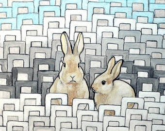 SALE - Philip and Samuel-  Original painting - two rabbits - original illustration