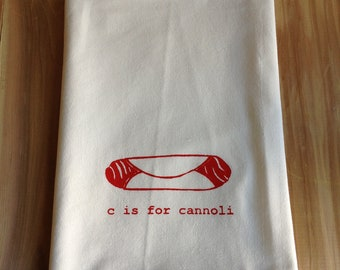 C is for Cannoli Kitchen Towel, Tea Towel, Flour Sack Towel- Single