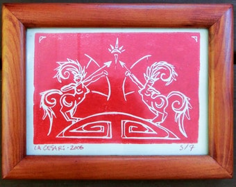 Sagittarius in Red Ink on Beige - Framed - Horse Woman - Bow and Arrow - Archery - Decorative Arts - Printmaking - Laura Cesari
