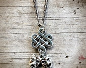 Comedy Tragedy Mask & Celtic Knot Pewter Necklace - Irish Theater, Muses Thespian Actor Stage Summer Drama