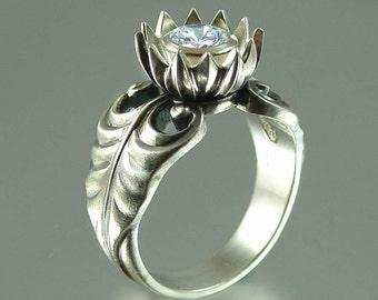 WHITE LOTUS silver ring with White Topaz