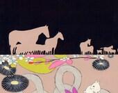 Horses - original fine art framed painting