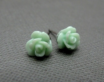 Petite Mint Green Roses Stud Earrings // Pale Green Acrylic Roses // Rhodium Posts // Gift under 10