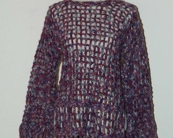 Purple Wool Tunic-Style Sweater